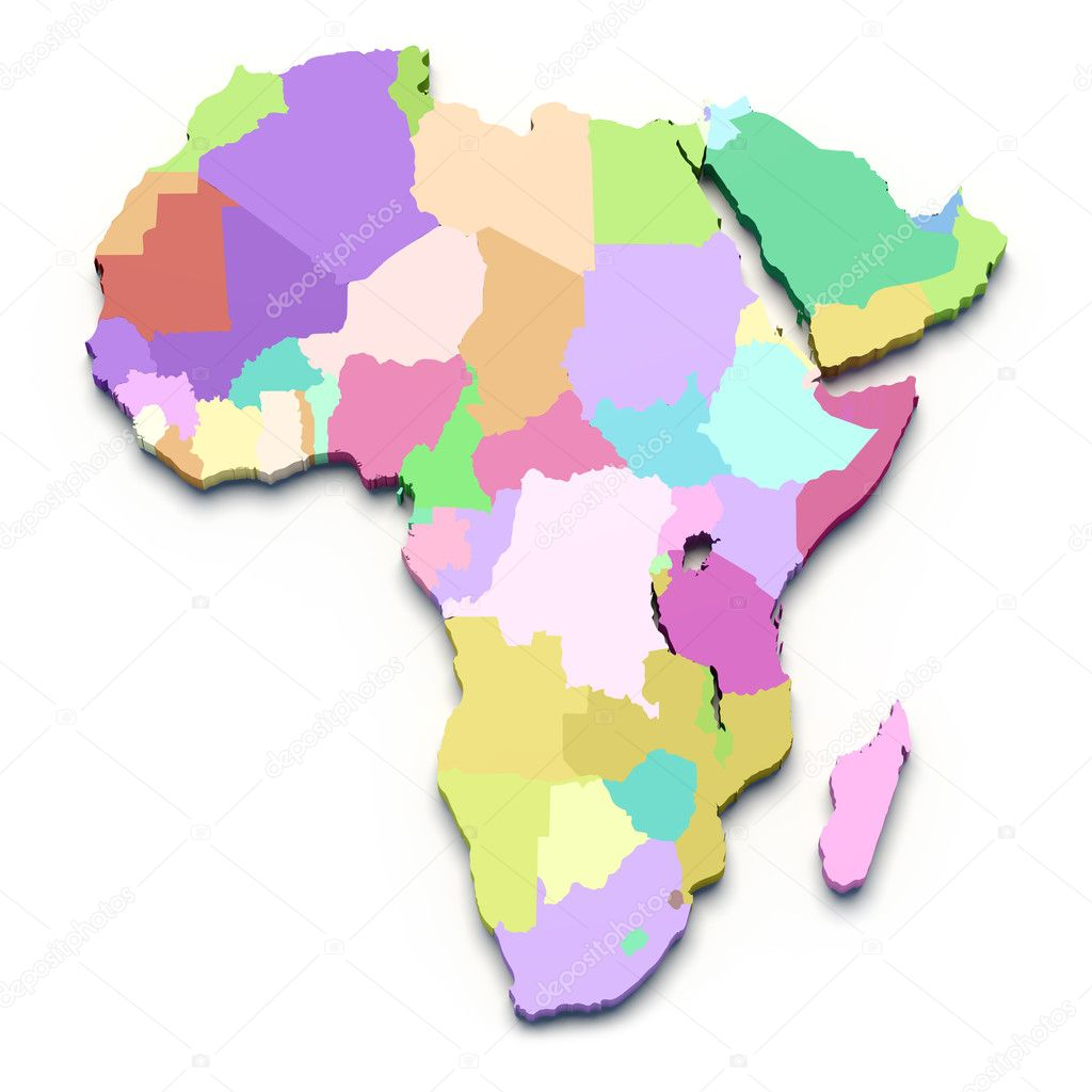 Africa map on white isolated — Stock Photo #8772282