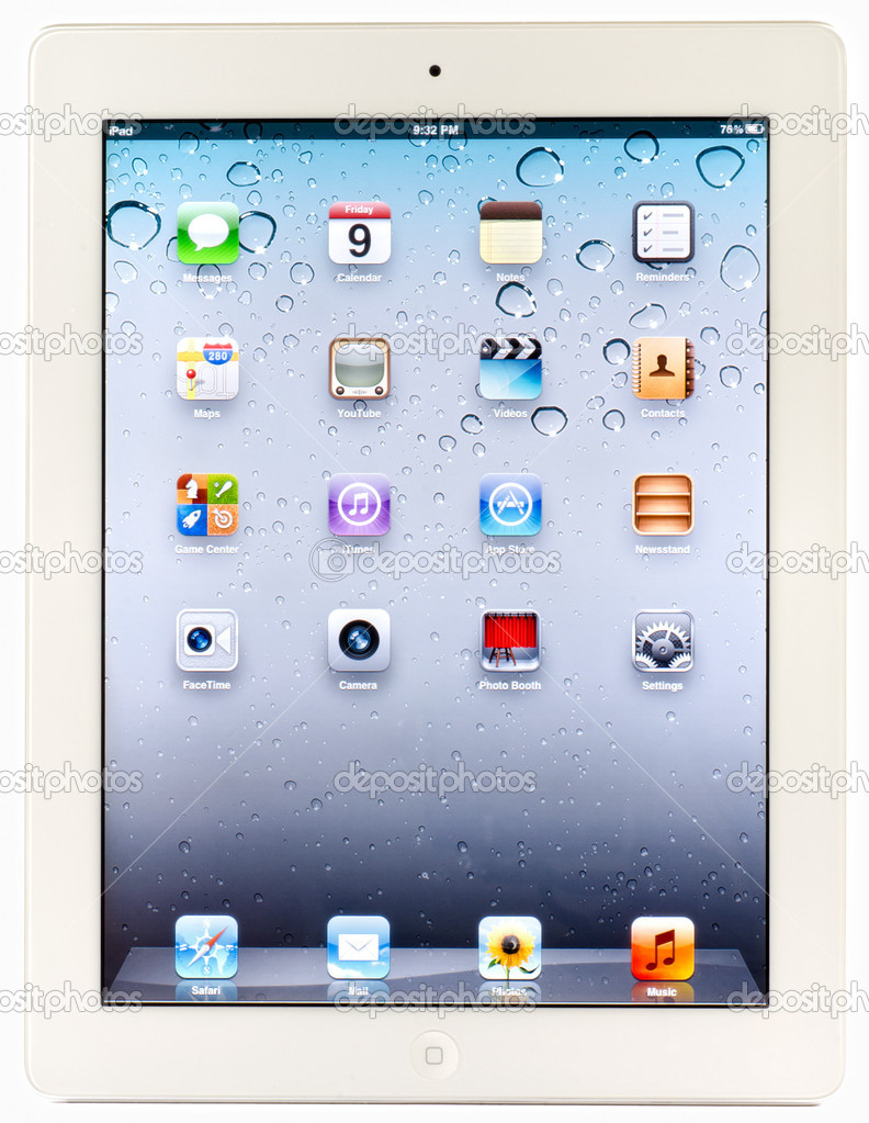 An iPad 2 isolated on white background, straight up perspective — Stock Photo #8013209