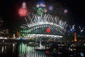 Sydney Harbour New Year's Eve NYE Fireworks — Stock Photo
