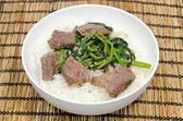 Vietnamese Beef Stir Fried With Water Spinach — Stock Photo