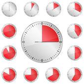 Temporizadores rojos — Vector de stock