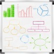 Whiteboard with graphs and diagrams — Stock Vector