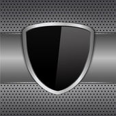 Black shield on metal background — Stock Vector