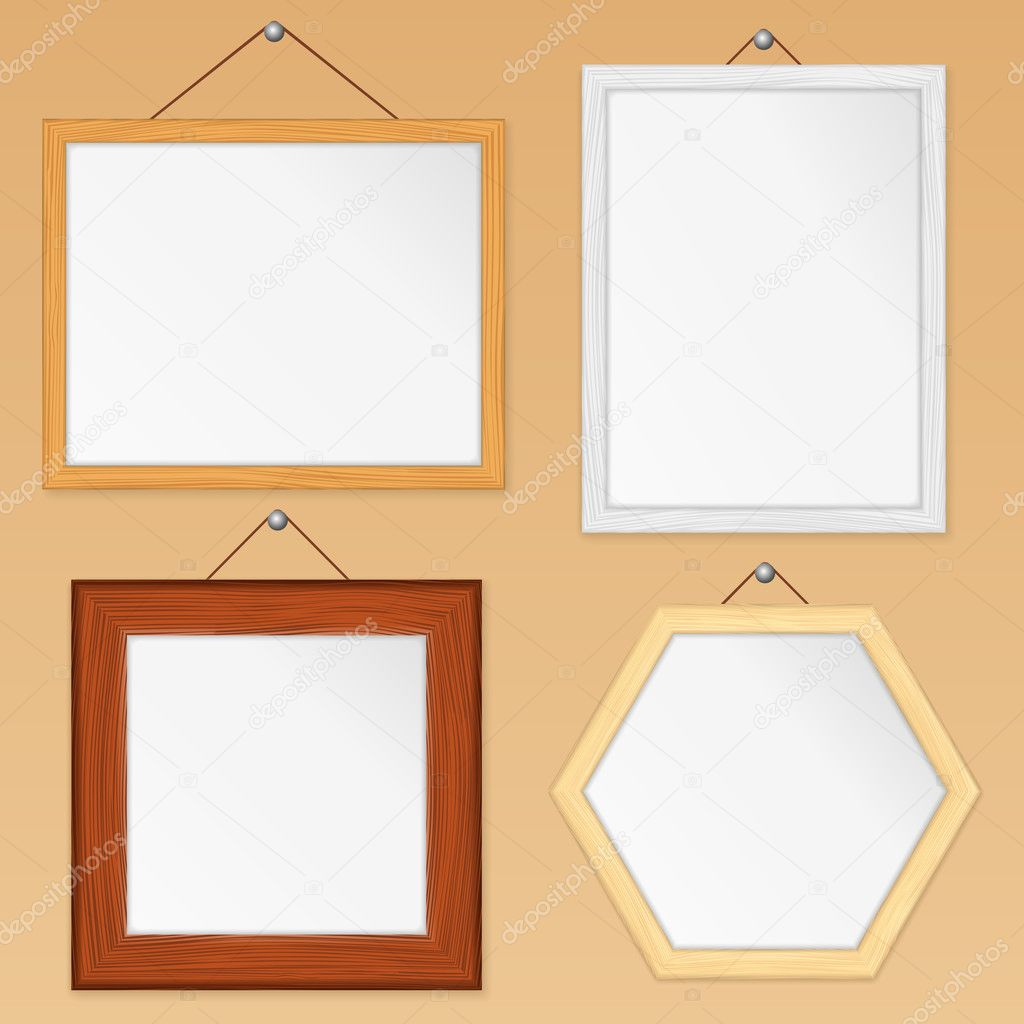 Set of wooden frames, vector eps10 illustration  Stock Vector #10201183