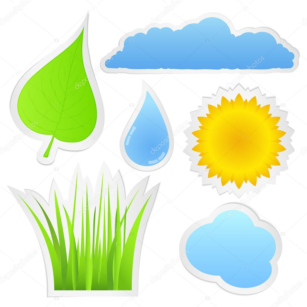 Stickers with nature elements, vector eps10 illustration — Stock Vector #10201196