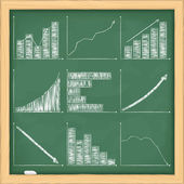 Graphs on blackboard — Stock Vector