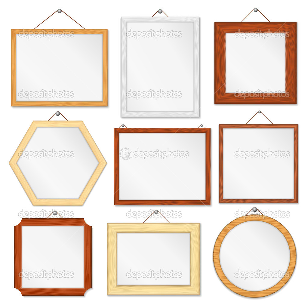 wooden frames set stock vector 10547242