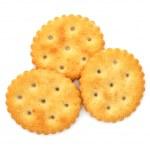 Round cracker isolated on a white background — Stock Photo #10623919