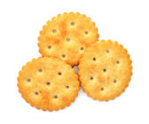 Round cracker isolated on a white background — Stock Photo