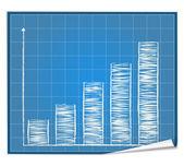 Bar graph blueprint — Stock Vector