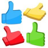 3D Thumbs Up Icons — Stock Vector