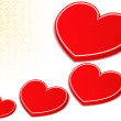 3D Red Hearts - Stock Vector