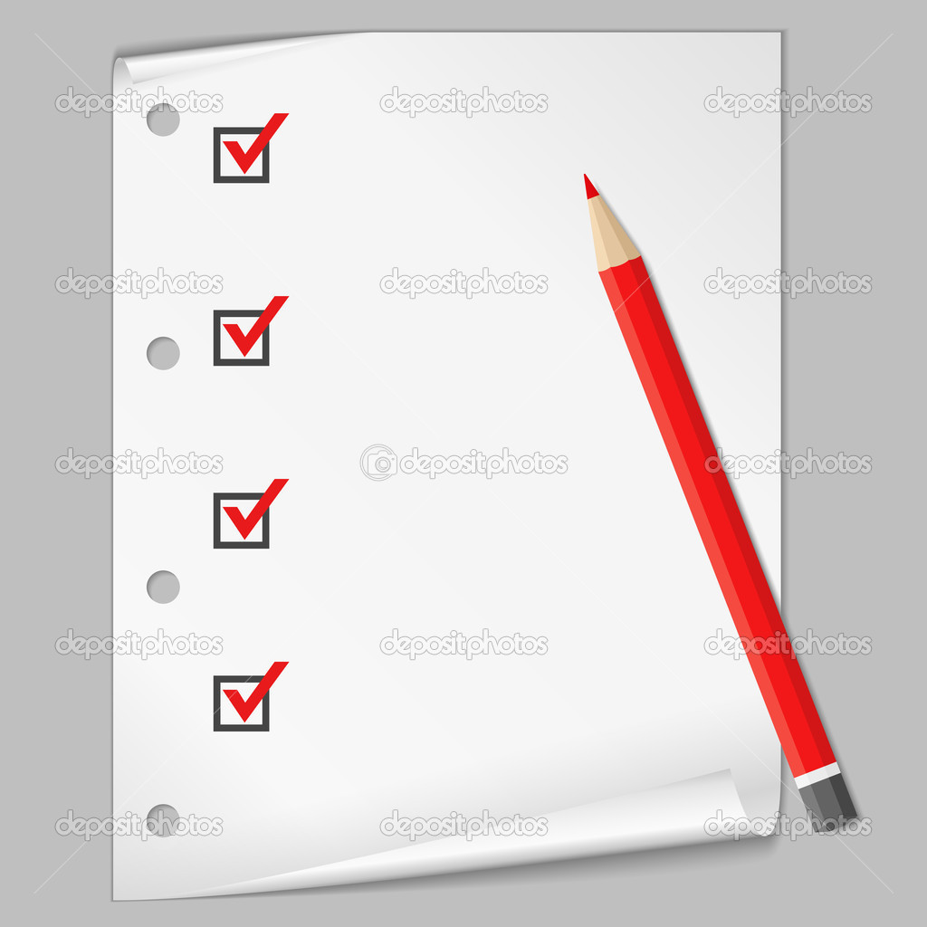 Check list with a red pencil, vector eps10 illustration (transparent shadows) — Stock Vector #8051364