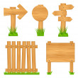 Set of wooden objects — Stock Vector #8230467
