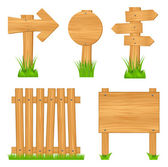Set of wooden objects — Stock Vector