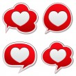 Red speech bubbles with heart icon — Stock Vector