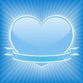 Blue heart with stars and ribbon — Vetor de Stock