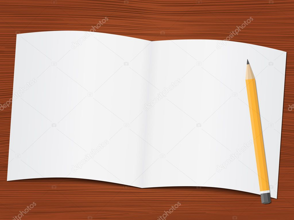 Blank white paper and pencil on the wooden desk, vector eps10 illustration  Stock Vector #8476587