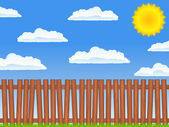 Wooden fence — Vector de stock
