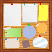 Bulletin board with old paper notes — Stock Vector