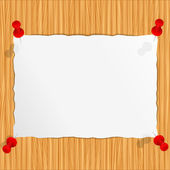 Paper on the wooden wall — Stock Vector