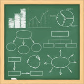 Graphs and diagrams on a blackboard — Stock Vector