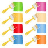 Cepillos con pintura — Vector de stock