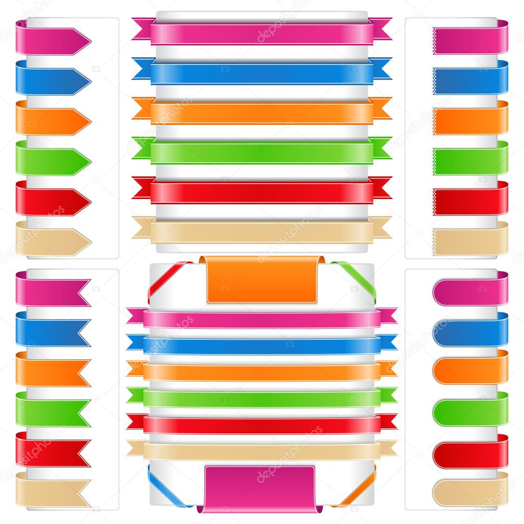 Set of different ribbons, vector eps10 illustration — Stock Vector #9941053