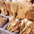 Different Sized and Shaped Wooden Spoons on Market — Stock Photo