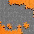 Orange jigsaw puzzle vector background - Stock Vector