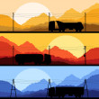 Royalty-Free Stock Vector Image: Highway truck wild nature landscape background vector