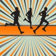 Silhouettes of runners vector background - Stock Vector
