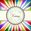 Vintage colorful template with retro sun burst background — Stock Vector