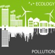 Green ecology city against pollution vector concept — Stock Vector
