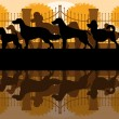 Various dog breeds silhouettes in dog park landscape background — Stock Vector