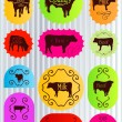 Beef cattle food labels illustration collection vector — Stock Vector #10337897