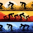Sport road bike riders and bicycles detailed silhouettes — Stock Vector