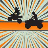 Quad bike silhouette vector background — Stock Vector
