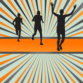 Silhouettes of runners vector background — Stock Vector