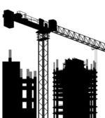 Przemysłowe wieżowiec miasta i żuraw krajobraz wektor — Wektor stockowy