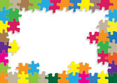 Colorful jigsaw puzzle vector background — Stock Vector