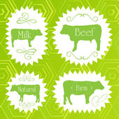 Beef cattle ecology food labels illustration — Stock Vector