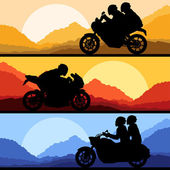 Sport motorbike riders motorcycle silhouettes collection vector — Stock Vector