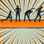 Frauen-fitness-vektor-hintergrund — Stockvektor