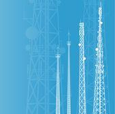 通信塔、ラジオや携帯電話基地局の vec — ストックベクタ