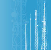 Telecommunications tower, radio or mobile phone base station vec — Vector de stock