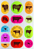 Beef cattle food labels illustration collection vector — Stock Vector