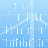Wind electricity generators vector background — Stock Vector