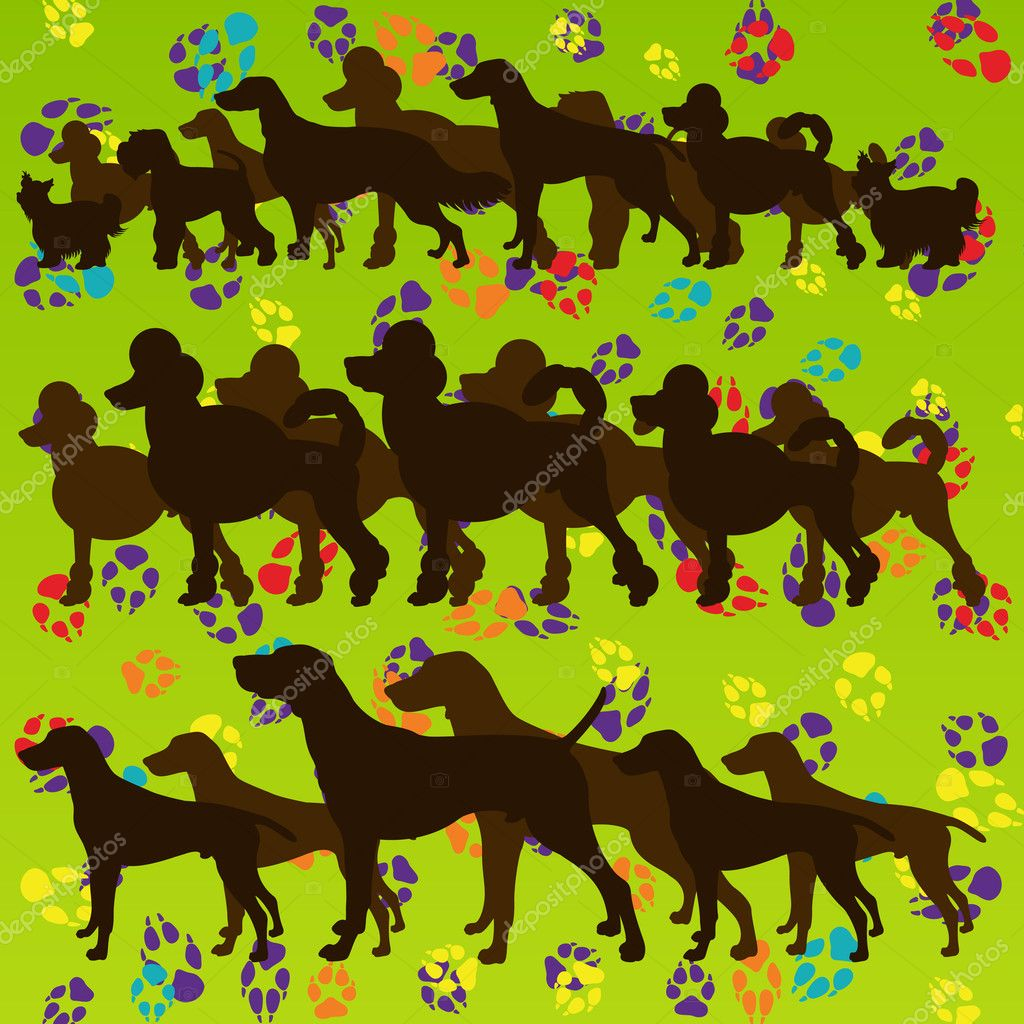 Dogs and dog footprints colorful silhouettes illustration collection background vector — Stock Vector #10337831