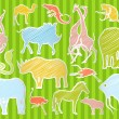 Africa animals illustration collection background — Stock Vector